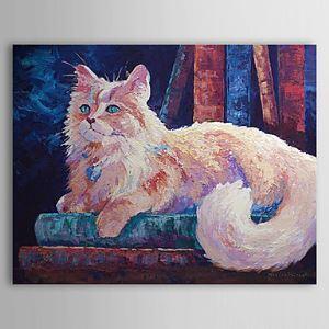 油絵画 手描き動物画 猫 1304-AN0086