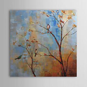 油絵画 手描き植物画 ツリー&鳥 1305-FL0130