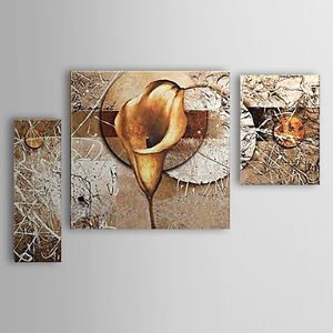 油絵画 手描き植物画 フレームなし 海芋 3枚入り 1302-FL0059
