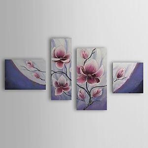 油絵画 手描き植物画 4個セット 1302-FL0063