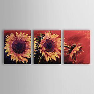 油絵画 手描き植物画 ヒマワリ 3個セット 1302-FL0066