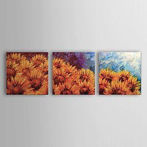 油絵画 手描き植物画 ヒマワリ 3個セット 1302-FL0068
