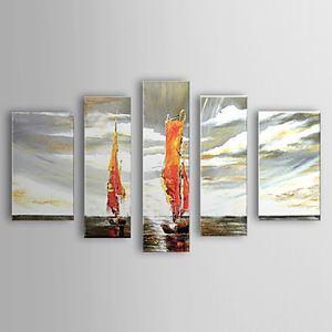油絵画 手描き風景画 5枚セット 1302-LS0223