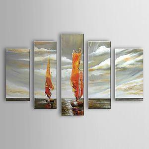 油絵画 手描き風景画 5枚セット 1303-LS0236