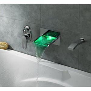 3色LEDバス・洗面蛇口 壁付水栓 2吐水口