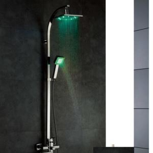 3色LEDレインシャワーシステム LEDヘッドシャワー+LEDハンドシャワー+蛇口 クロム