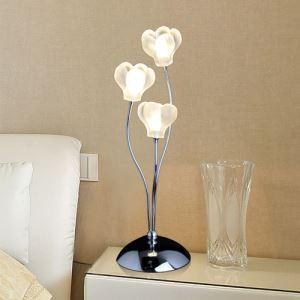 テーブルランプ テーブル照明 テーブルライト スタンド クリスタル付 花造形 3灯