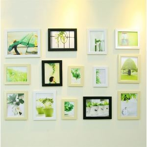 壁掛けフォトフレーム 写真用額縁 フォトデコレーション 木製 14個セット 複数枚