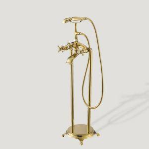 床置き浴槽水栓 床立ち上げ式シャワー水栓 ハンドシャワー付き Ti-PVD