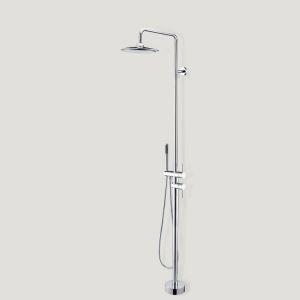 床置き浴槽水栓 床立ち上げ式シャワー水栓 ハンドシャワー付き クロム