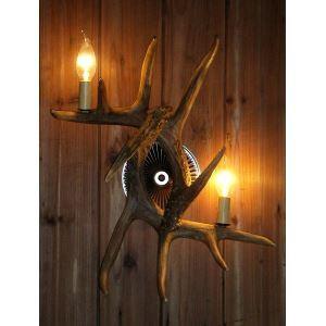 鹿角壁掛けライト ウォールライト 壁掛け照明 玄関照明 樹脂製 茶褐色 2灯 LED電球付 SWHA2L2N2