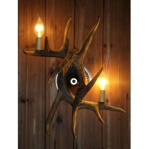 鹿角壁掛けライト ウォールライト 壁掛け照明 玄関照明 樹脂製 茶褐色 2灯 LED電球付 SWL2N2