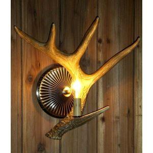 鹿角壁掛けライト ウォールライト 壁掛け照明 玄関照明 樹脂製 茶褐色 1灯 LED電球付 SWHA1L1N2
