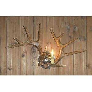 鹿角壁掛けライト ウォールライト 壁掛け照明 玄関照明 樹脂製 茶褐色 1灯 LED電球付 SWL1N2