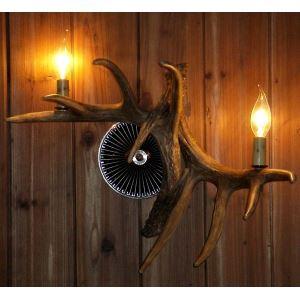 鹿角壁掛けライト ウォールライト 壁掛け照明 玄関照明 樹脂製 茶褐色 2灯 LED電球付 SWHA2L2N3