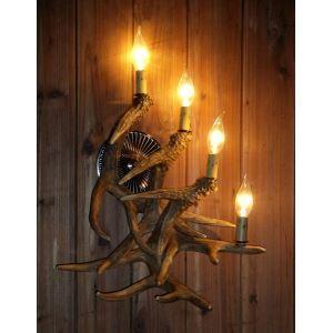 鹿角壁掛けライト ウォールライト 壁掛け照明 玄関照明 樹脂製 茶褐色 4灯 LED電球付 SWHA3L4N1