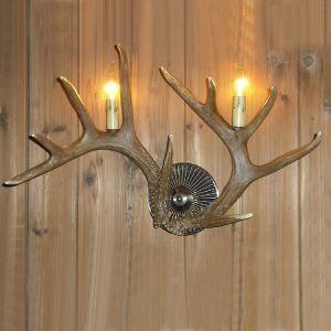 鹿角壁掛けライト ウォールライト 壁掛け照明 玄関照明 樹脂製 茶褐色 2灯 LED電球付 SWHA2L2N5