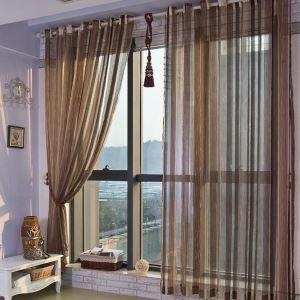 シアーカーテン オーダーカーテン 伝統風 ジャカード 縦縞 6色 レースカーテン(1枚)