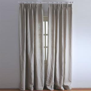 遮光カーテン オーダーカーテン グレー 無地柄 綿&麻 3級遮光カーテン(1枚) LZ2040