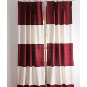 エコカーテン オーダーカーテン 現代風 赤と白 断熱・省エネ効果カーテン( 1枚 )-2039