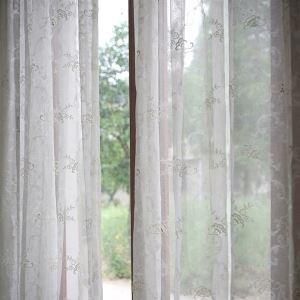 シアーカーテン オーダーカーテン 北欧風 ジャカード 花柄 ポリエステル レースカーテン(1枚)