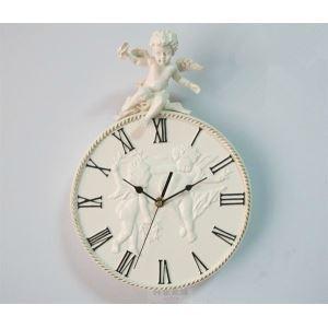 壁掛け時計 クラシック 枠に天使付き 樹脂 ミュート