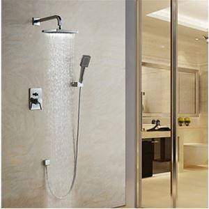 埋込形シャワー水栓 レインシャワーシステム バス蛇口 ヘッドシャワー+ハンドシャワー 混合栓 クロム