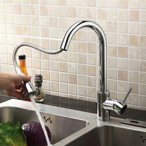 キッチン蛇口 台所蛇口 引出し式水栓 冷熱混合水栓 クロム(MK04)