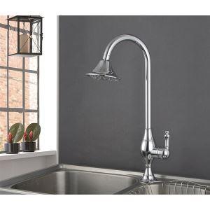 キッチン蛇口 台所蛇口 冷熱混合水栓 シャワー状吐水口 クロム(HM3019)