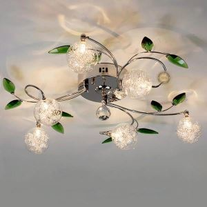 LEDシーリングライト 照明器具 リビング照明 寝室照明 おしゃれ 緑葉付き 6灯 LED対応