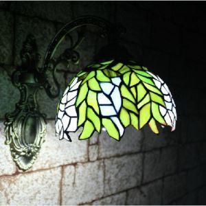ティファニーライト 壁掛け照明 壁掛けライト ステンドグラス製照明 緑葉 1灯