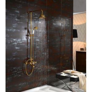 金色レインシャワーシステム シャワーバー バス水栓 ヘッドシャワー+ハンドシャワー+蛇口 Ti-PVD