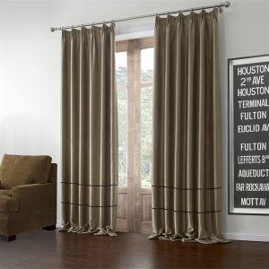 極細繊維カーテン オーダーカーテン UVカット 薄茶色 ポリエステル&綿 1級遮光カーテン(1枚) LZ602