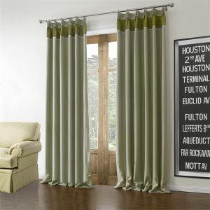 極細繊維カーテン オーダーカーテン UVカット 地中海風 グリーン 無地柄 1級遮光カーテン(1枚) LZ613