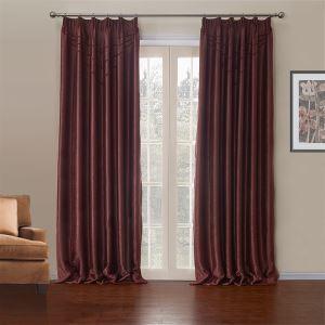 極細繊維カーテン オーダーカーテン UVカット レッド 無地柄 ポリエステル&綿 1級遮光カーテン(1枚) LZ622