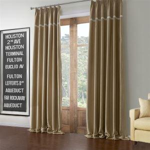 極細繊維カーテン オーダーカーテン UVカット カーキ色 無地柄 ポリエステル&綿 1級遮光カーテン(1枚) LZ595