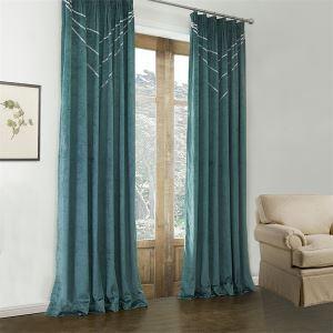 極細繊維カーテン オーダーカーテン UVカット ロイヤルブルー 無地柄 1級遮光カーテン(1枚) LZ582