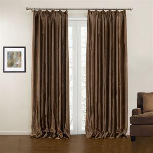 極細繊維カーテン オーダーカーテン UVカット 田舎風 コーヒー ポリエステル 1級遮光カーテン(1枚) LZ10