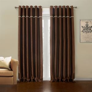 極細繊維カーテン オーダーカーテン UVカット 茶色 ポリエステル 1級遮光カーテン(1枚) LZ633