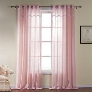 シアーカーテン 現代風 ピンク 綿 ジャガード織り レースカーテン(1枚)-531