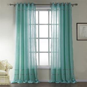 シアーカーテン 地中海風 ブルー 綿 ジャガード織り レースカーテン(1枚)-530