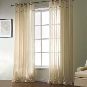 シアーカーテン 地中海風 黄色 綿 ジャガード織り レースカーテン(1枚)-524