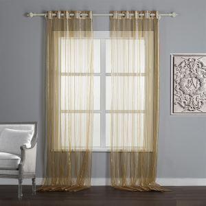 シアーカーテン 自然風 ジャガード織り 茶色 縦縞 麻 レースカーテン(1枚)