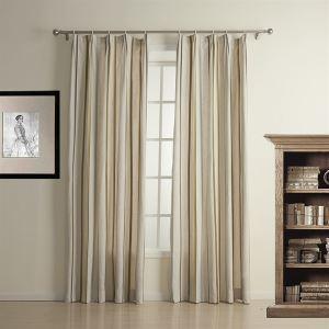 遮光カーテン オーダーカーテン 縦縞 グレー 麻 UVカット・断熱 3級遮光カーテン(1枚) LZ1321