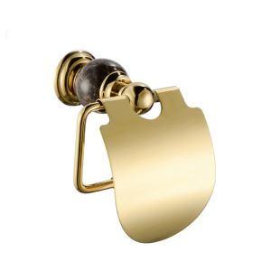 トイレットペーパーホルダー バスアクセサリー 真鍮&マーブル 金色 Ti-PVD