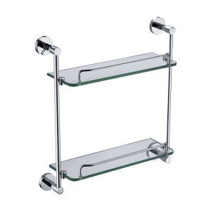 化粧棚 シェルフ ガラス棚 浴室棚 バスアクセサリー 浴室収納 クロム 2段