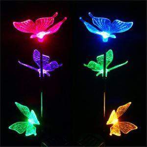 LEDソーラーライト ガーデンソーラーライト 蝶 色が変更する