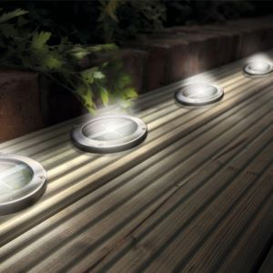 LEDソーラーライト ステンレス製 ガーデンソーラー 4個入り