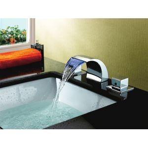 3色LEDバス・洗面蛇口 水流発電 2ハンドル混合栓