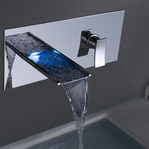 3色LEDバス・洗面蛇口 壁付水栓 水流発電